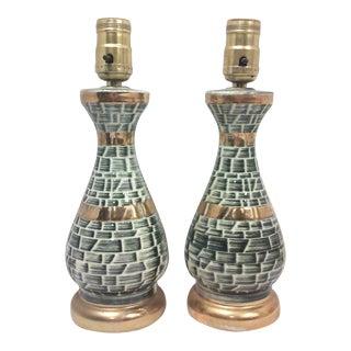 Mid-Century Black & Gold Ceramic Accent Lamps - A Pair