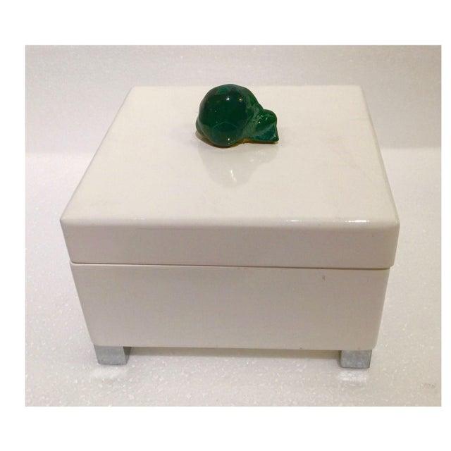 White Lacquered & Malachite Stone Box - Image 4 of 4