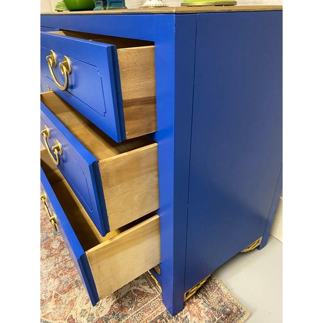 Royal Blue Cobalt Nine Drawer Dresser For Sale - Image 8 of 11