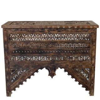 Vintage Moroccan Hand-Carved Wooden Trunk With Lid For Sale