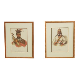Pair McKenney & Hall Fine Art Color Prints of Indian Chiefs Yonolo-Micco & Ki-on-Twog-Ky For Sale