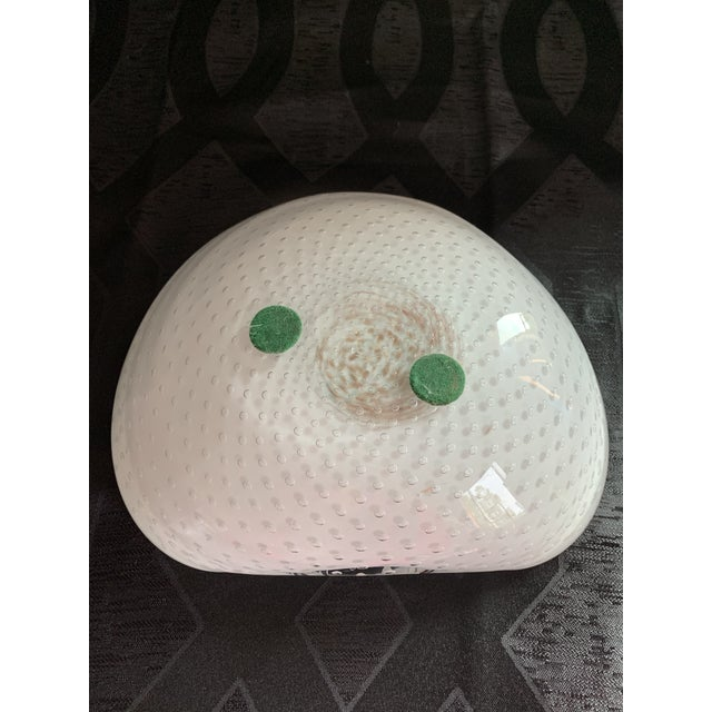 Vintage Alfredo Barbini Murano Glass Pink and White Bullicante Centerpiece Bowl For Sale - Image 11 of 13