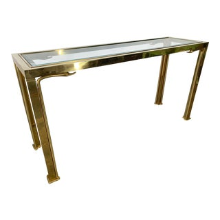 Brass Swan Head Console Table by Mastercraft For Sale