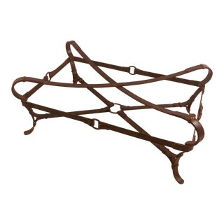 Hermès Style Iron Equestrian Strap Coffee Table For Sale
