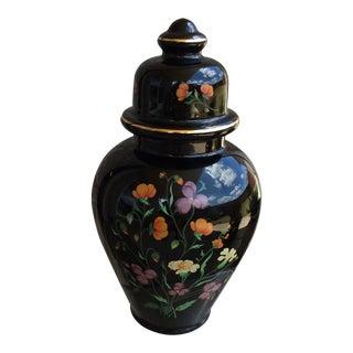 Vintage Norleans Style Black Floral Ginger Jar For Sale