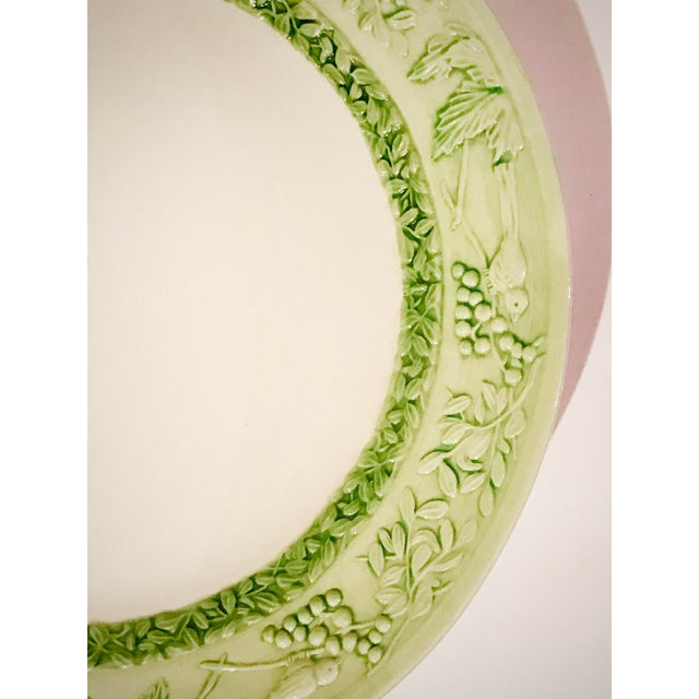 Vintage Italian Dipinto a Mano (hand painted) large serving platter trimmed in a lovely green with a springtime theme of...