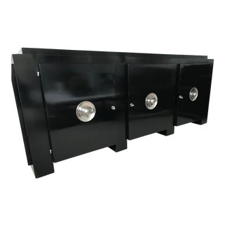 1930s Art Deco Black Lacquer Credenza For Sale