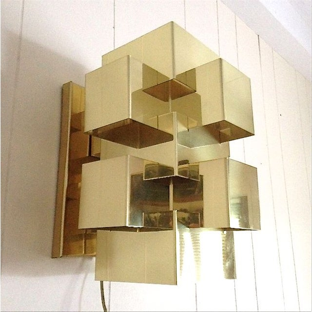 C. Jere Geometric Brass Cubist Wall Sconce - Image 3 of 3