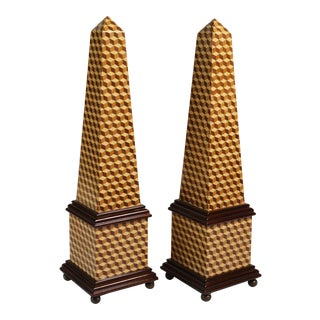 Fine Wood Inlay Obelisks - a Pair For Sale