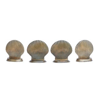 Brass Scallop Shell Bookends , Set of 4