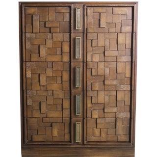 1960's Mid-Century Modern Brutalist Cubist Dark Walnut Dresser For Sale