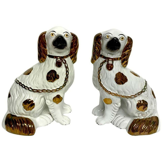 Tall Staffordshire Copper Luster Dogs With Separated Legs - a Pair For Sale - Image 4 of 9