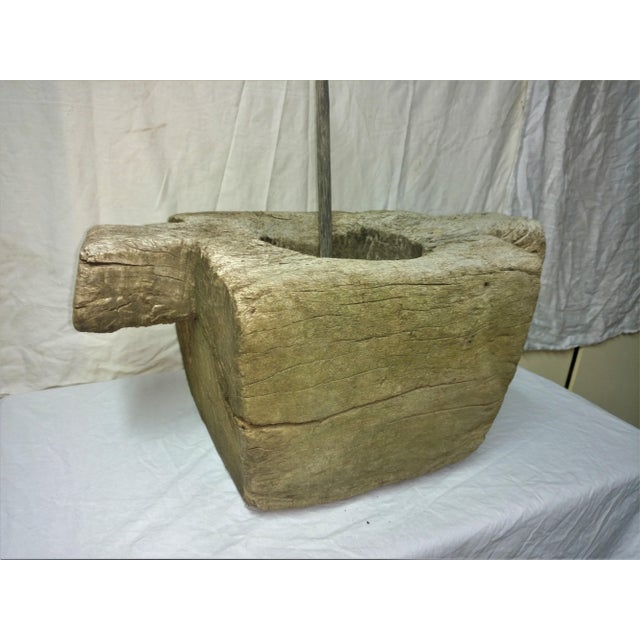 Primitive Antique Relic and Artifact Ceylonese Mortar and Stone Pestle For Sale - Image 3 of 13
