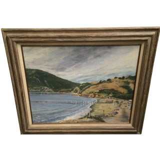 Vintage California Coastline Painting by Chet Hill For Sale