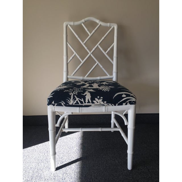Chippendale White Bamboo Chairs - Set of 4 - Image 7 of 8