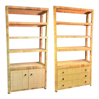 Rattan & Wicker Brass Accented Etageres - A Pair For Sale