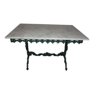 English Cast Iron & Carrera Marble Top Table