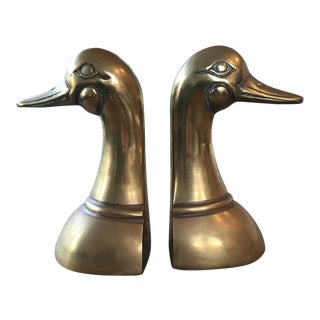 Vintage Brass Duck Bookends a Pair For Sale
