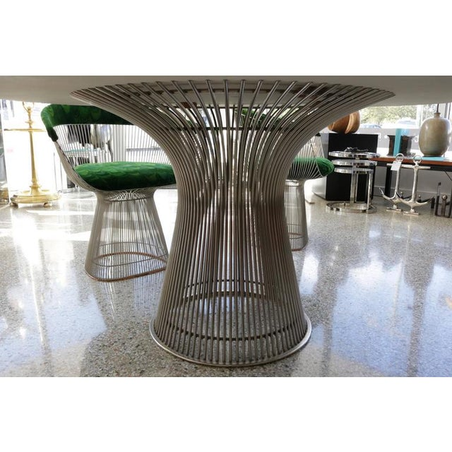 Warren Platner for Knoll Marble Table, Four Chairs, Jack Lenor Larsen Fabric - Image 3 of 10