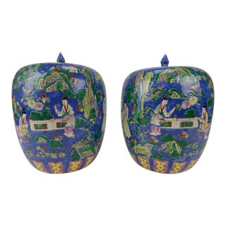 Chinese Mirror Famille Verte Ginger Jars - A Pair