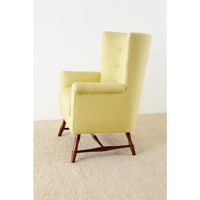 Westcott Citron Linen Wing Chair by Bunny Williams For Sale - Image 4 of 13