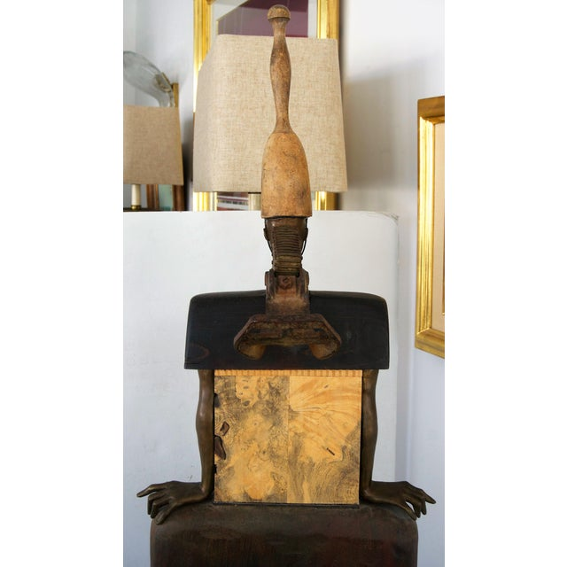 Vintage 2002 Cecilia Z Miguez Sculpture 6-Foot Bronze Wood Granite and Found Objects For Sale - Image 10 of 13