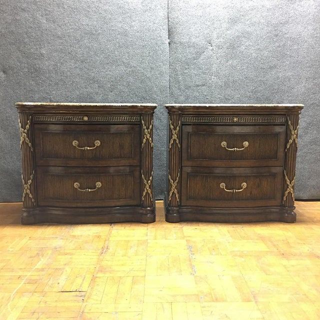 Philippe Langdon Marble Top Nightstands - Image 5 of 11