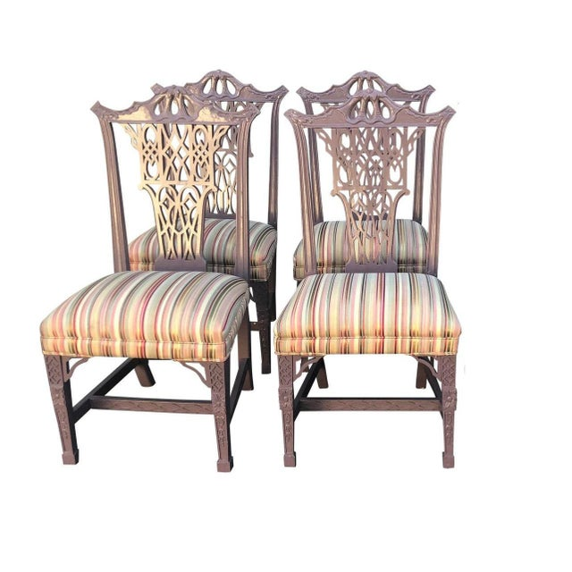 Hollywood Regency Chinese Chippendale Style Purple Pastel Dining Chairs - Set of 4 For Sale - Image 4 of 4