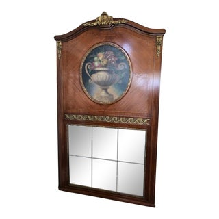 Late 19th Century Antique Mahogany French Mirror With Oil Painting For Sale