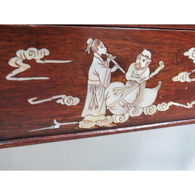 Mother-of-Pearl Chinese Rosewood Inlaid Altar Style Console Table For Sale - Image 7 of 9