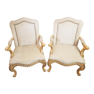 Ferguson Copeland Louis XV Swag Apron Upholstered Gold Gilded Arm Chairs a Pair For Sale