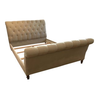 Modern Cisco Brothers Queen Size Acacia Tufted Sleigh Bed For Sale