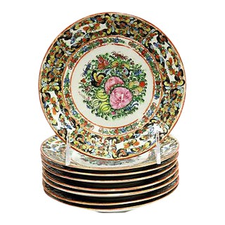 1920s Rose Medallion Butterfly Plates, Set of 8