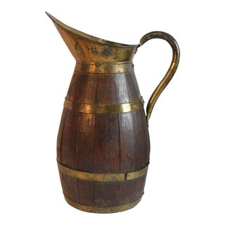 Late 19th C. Antique French Wood & Brass Pitcher For Sale