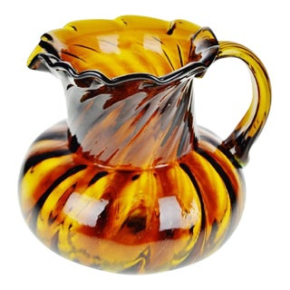 Vintage Hand Blown Art Glass Pitcher For Sale