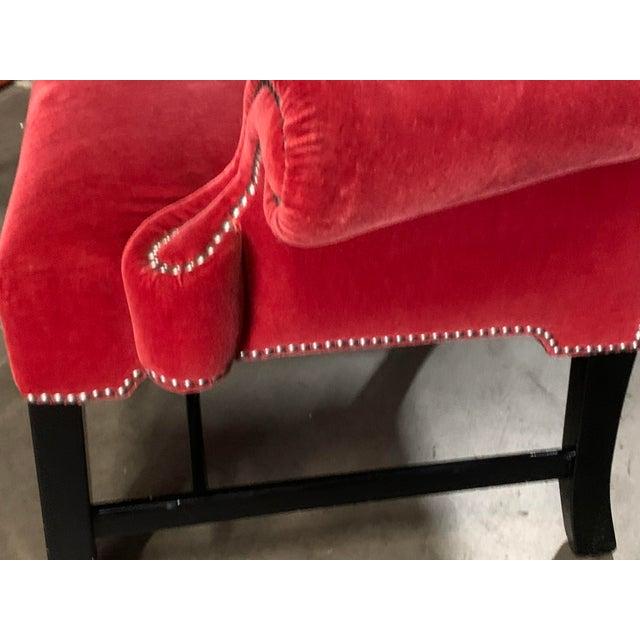 J Robert Scott Crimson Velvet Arm Chairs - a Pair For Sale - Image 4 of 13
