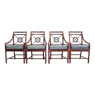 Four McGuire Rattan Target Back Arm Chairs