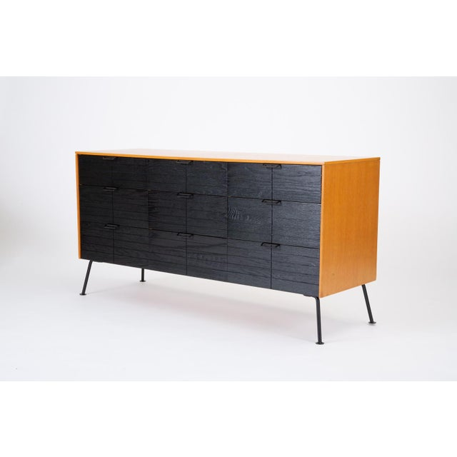 """A """"Triple Dresser"""" from Raymond Loewy's 1952 """"Accent"""" collection for Louisville-based Mengel Company. The dresser has a..."""