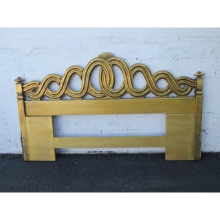 French King Size Distressed Gold Painted Headboard by Thomasville Preview