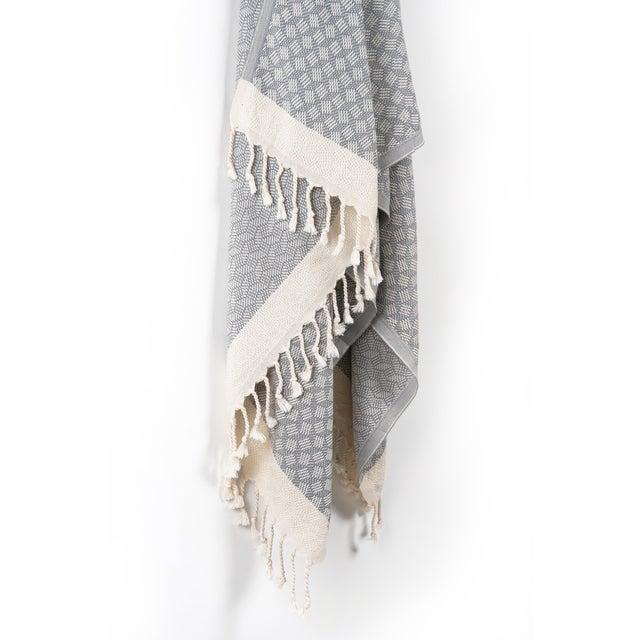 Modern Modern Love Handmace Organic Cotton Towel in Slate Grey For Sale - Image 3 of 6