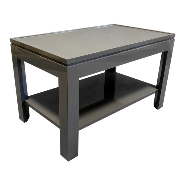 Contemporary Gray End Table/Night Stand With a Faux Tray Design For Sale