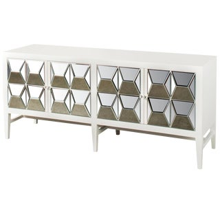 White Wood & Mirrored Glass Spike Sideboard For Sale