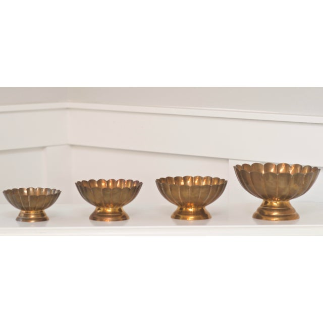 Hollywood Regency Brass Scallop Footed Bowls - Set of 4 - Image 2 of 4