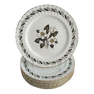 English Royal Worcester Engadine Porcelain Dinner Plates - Set of 8 For Sale