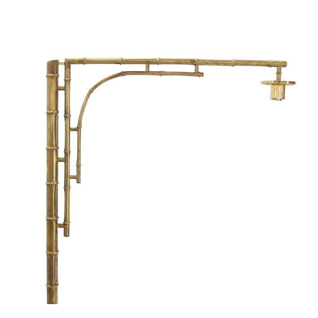"Very nice trip leg ""Crane"" shape brass faux bamboo Mid-Century Modern floor lamp. In style of Maison Bagues."
