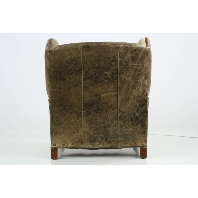 Regency Style Green Leather Club Chair and Ottoman - Image 9 of 11