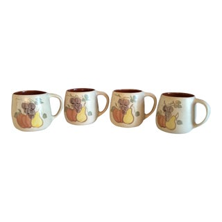 1950s Mid-Century Modern Chatham Pottery Country Harvest Mugs - Set of 4 For Sale