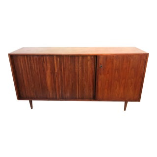 Milo Baughman Tambor Door Walnut Credenza For Sale