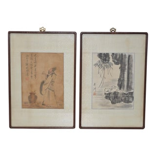 Pair of Vintage Chinese on Silk Watercolor Paintings C.1940s For Sale
