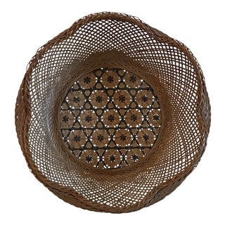 Vintage Green and Tan Pattern Basket